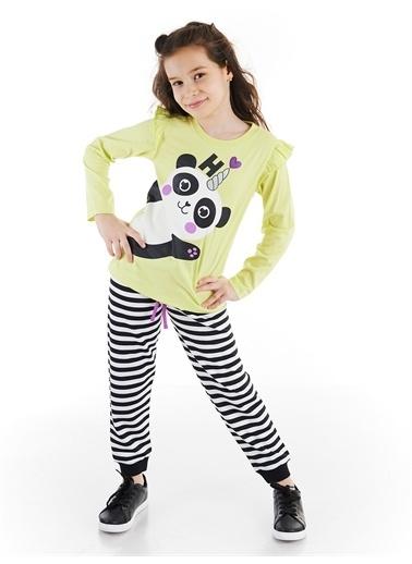 Denokids Hello Pandacorn Kız Pantolon Takım Renkli